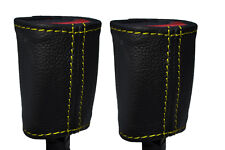 YELLOW STITCH 2X FRONT SEAT BELT LEATHER COVERS FITS FORD MUSTANG 2005-2009