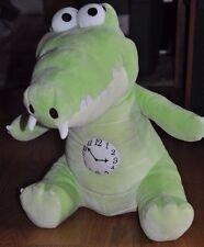 "DISNEY CROCODILE Peter Pan Plush Toy Stuffed Animal HUGE 16"" Tall Clock Cute!"