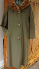 Vintage 50-60s Ken Whitmore Tailorman Fully Lined Green Coat Mink Collar 12-14