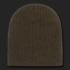 Brown Watch Beanie Cap Hat Ski GI Military Winter Cuffless Knit Hats Beanies
