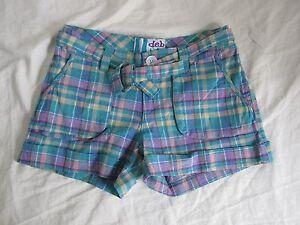 NEW DEB shorts sz 1, 7, 11, or 13 Blue Green Purple Plaid Cute Checkered w/ Belt