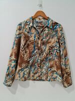 [ Leesa] Women's Long Sleeve Multicolored Collared Shirt  | Size AU 12