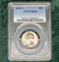 1953 S PCGS MS 65 Washington Silver Quarter, Gem MS 65 Silver 25 Cent Coin