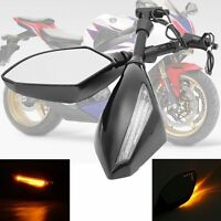 Pair 8mm 10mm Motorcycle Turn Signal LED Rear Mirrors Integrated Indicator Light