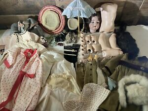 Antique Composition Doll And Clothing Lot