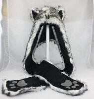 White Wolf Husky Full Animal Hood Hoodie Hat Faux Fur 3 in 1 Function