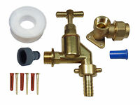 20mm MDPE Outside Tap Kit, with Heavy Duty Tap, Brass Wall Plate, Hose Fitting