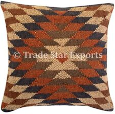 Indian Kelim Jute Pillow Case 18x18 Hand Woven Vintage Rug Throw Cushion Cover