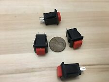 4 Pieces square RED push button switch momentary normally open no boat car c6