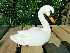 More details for fair trade hand carved made wooden swan wild bird ornament statue sculpture