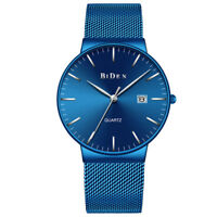 BIDEN Luxury Men Women Waterproof Stainless Steel Straps Quartz Date Wrist Watch