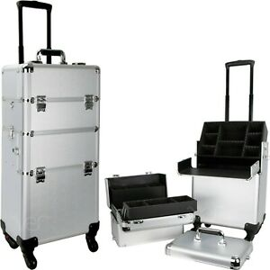 2 in 1 Professional Hair Stylist Rolling Cosmetic Makeup Train Case w/ Wheels