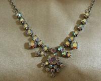 VINTAGE Sparkly Rainbow Aurora Borealis Crystal Floral Drop Riviere Necklace #3