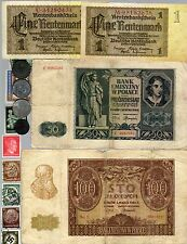 NAZI BANKNOTE, COIN AND STAMP SET #  29