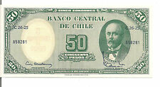 CHILE, 5 C on 50 PESOS, ND(1960-61),UNC