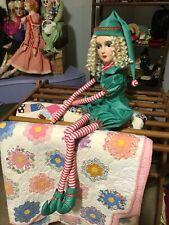 antique vintage boudoir bed doll Christmas decor elf
