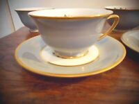 Vintage Princess China with Dogwood Flowers Cups and Saucers Set of 5
