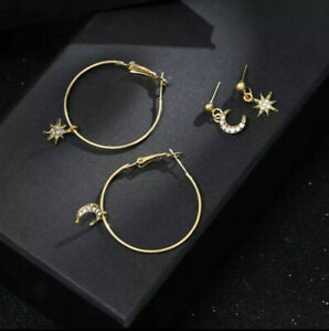 Vintage ethnic hoops with star and moon