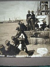 Spanish-American War - US Troops on board transport ship - antique stereoview
