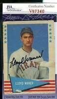 Lloyd Waner 1961 Fleer Jsa Coa Hand Signed Authentic Autograph
