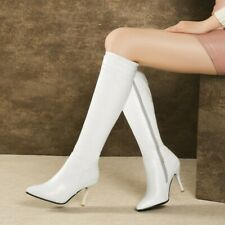 Sexy Ladies Pointy Toe Zipper Mid Calf Knee Thigh Riding Boots Casual Size 34-45