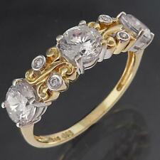 Bright & Lively 9k Solid Yellow GOLD CUBIC ZIRCONIA CZ ETERNITY RING Sz O 1/2