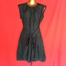 A Common Thread Womens Dress M 8 10 Black Silk Career Cocktail Party Belt 2M73