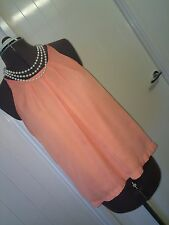 Temt Size 8 Pale Orange Summer Tunic Top Office to Party Versatile Smart Casual