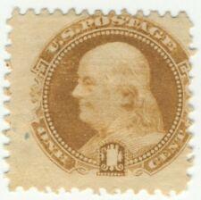 Scott #112, Ben Franklin 1 cent stamp ,unused ,no gum, well defined grill