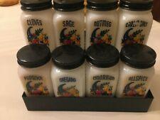 Vintage Cornucopia/Horn of Plenty Milk Glass Spice Set with Display Rack- Vgc!