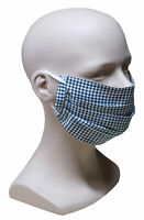 Mund Nase Maske schwarz weiß Karo feiner Stoff Sommer 1-lagig waschbar HU-7109