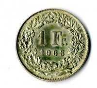 Moneda Suiza 1963 B 1 franco suizos plata .835 silver coin Helvetia