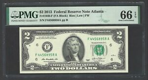 United State - Federal Reserve Note 2 Dollars 2013  Fr1940-F (FA Block) Grade 66