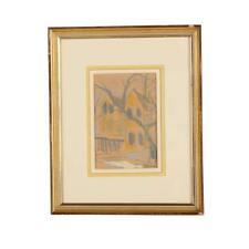 "LEONTINE TINTNER CAMPRUBI (AMERICAN 1916-1994) Pastel Painting ""Houses"""