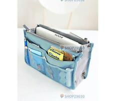 Handbag Insert Organizer Purse Dual Storage Bag in Bag  Multi Pockets Blue #