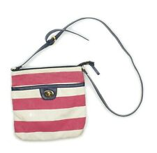 TOMMY HILFIGER Womens Red Striped Canvas Crossbody Bag Purse
