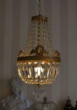 Antik Deckenlampe Kronleuchter Messing Kristalle Kristalllüster