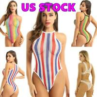US Bodysuit Sexy Women's Lingerie One-Piece Swimwear Rainbow Sheer Leotard Thong