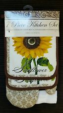 NWT SUNFLOWER KITCHEN 7 PIECE SET FLORAL TOWELS OVEN MITT POTHOLDERS DISHCLOTHS