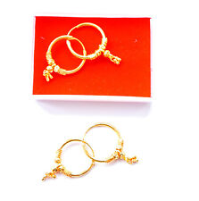 Indian hoop drop Style gift girls h54 Real looking 22 ct gold plated Earrings -