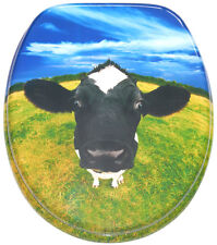 SOFT CLOSE PRINTED WC TOILET SEAT | STABLE HINGES | SLOW CLOSE| COW