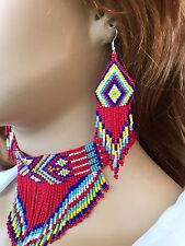 NEW WOMEN RED CHUNKY BEADED CHOKER BIB NECKLACE EARRINGS SET S54/10
