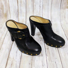 Coach Women's  Elaine High Heel Clogs Black Gold Studs Buckle Size 8