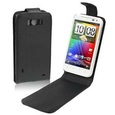 COVER CUSTODIA FLIP CASE PER HTC SENSATION XL G21 ECO PELLE FODERO NERO NUOVO