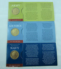 ANZAC SPECIAL - 2001 $1 coin set ARMY, AIRFORCE and NAVY on flat unfolded cards