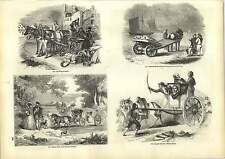 Old Engravings Travelling In Russia Yarmouth Beach Cart Maltese Callesse