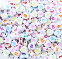 "200PCS 7*7mm Mixed colors Acrylic Alphabet ""A-Z"" Spacer Heart Beads L008"