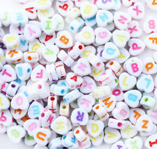 "200PCS 7*7mm Mixed colors Acrylic Alphabet ""A-Z"" Spacer Heart Beads J004"