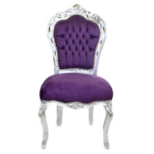 CHAIRS FRANCE BAROQUE STYLE DINING ROYAL CHAIR SILVER / PURPLE #60ST5