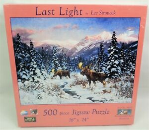 Last Light 500 Pc Jigsaw Puzzle Lee Stroncek Suns Out Moose Snowy Woods Mountain